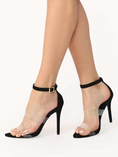 Clear Band Buckled Ankle Strap Stiletto Heels