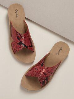 Criss Cross Snake Print Bands Slip On Sandals