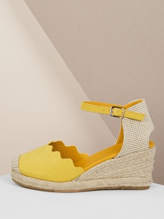 Wavy Edge Buckled Strap Jute Wrapped Wedges