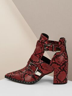 Snakeskin Twin Buckle Stud Detail Cut Out Boots