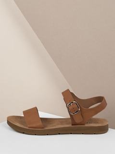 Open Toe Solid Band Buckle Strap Flat Sandals