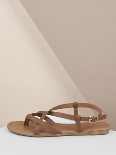 Criss Cross Straps Slingback Thong Flat Sandals