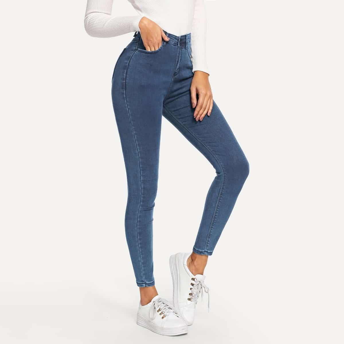 Blauw Basics Vlak jeans Knoop