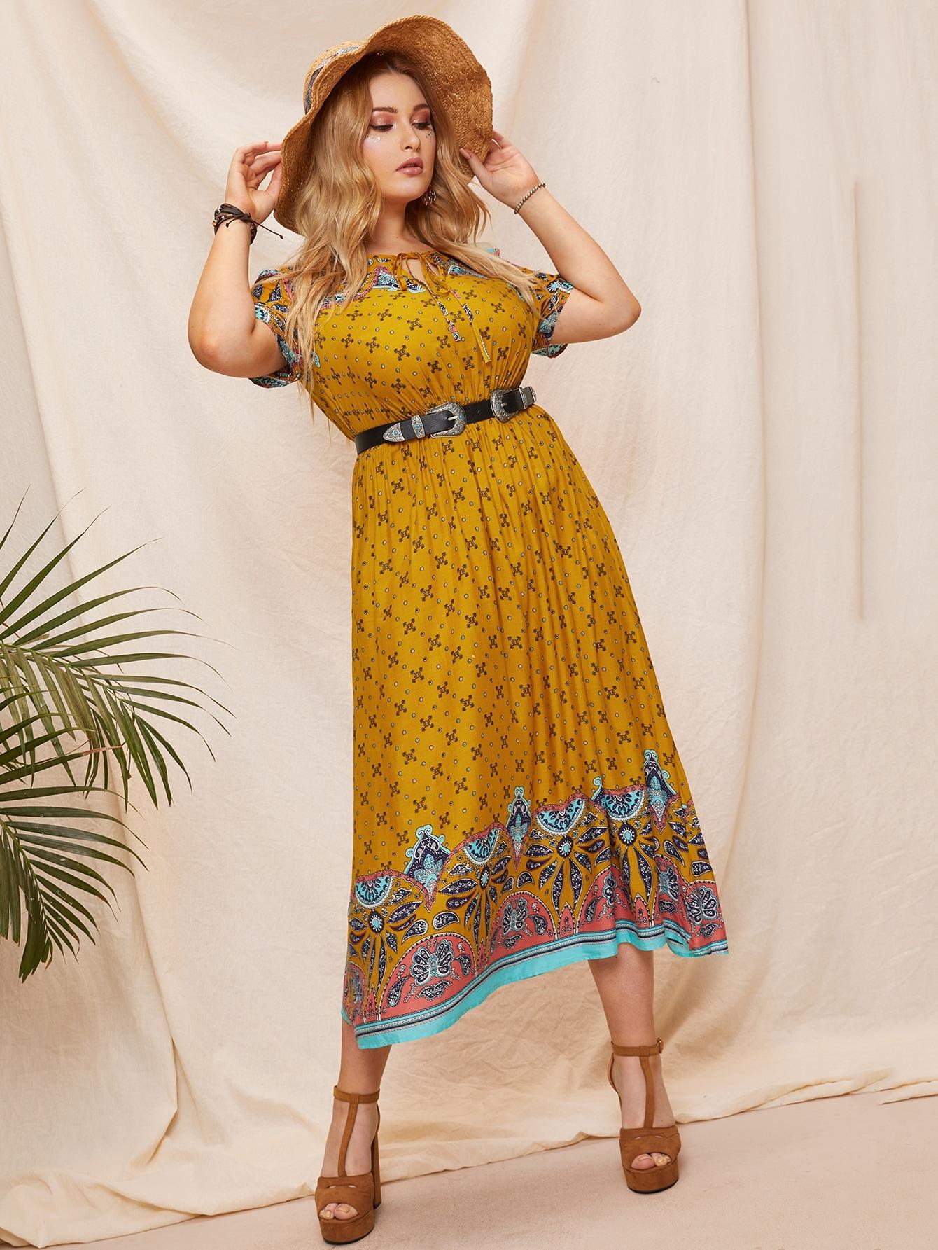 Размера плюс платье с завязкой на шее и графическим принтом