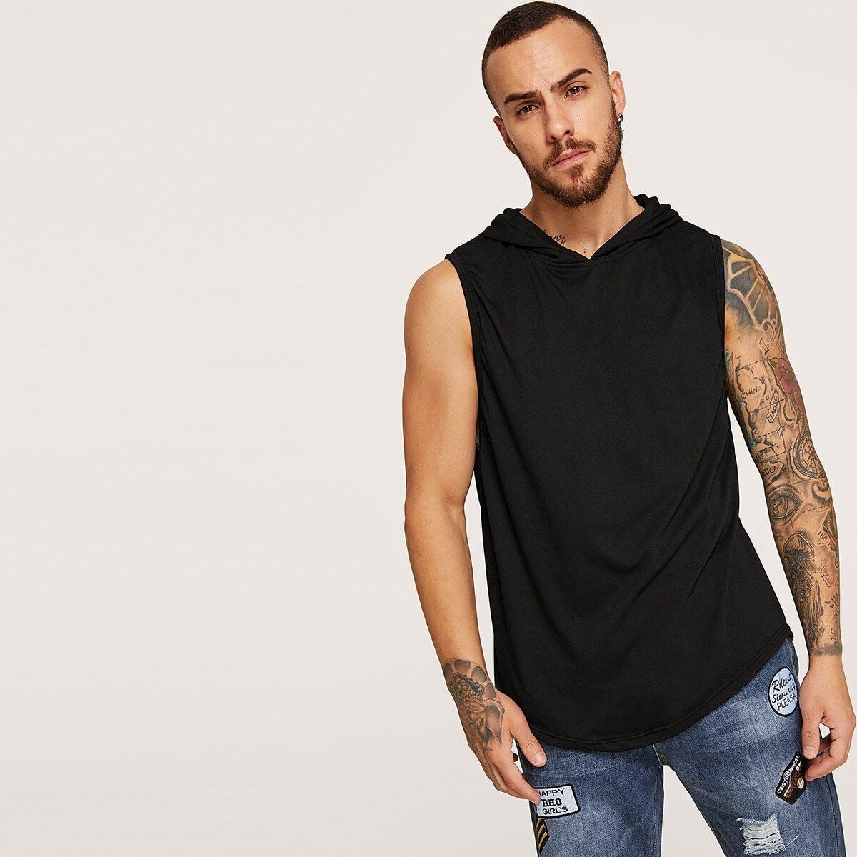 Zwart Casual Vlak Shirts mannen