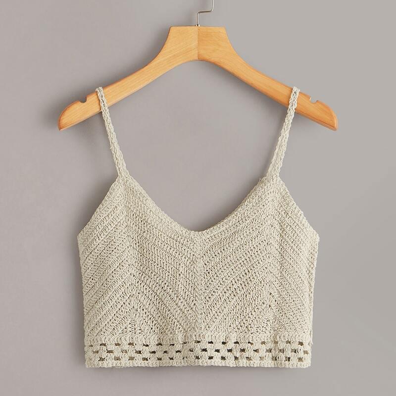 Crochet Crop Cami Top, Beige