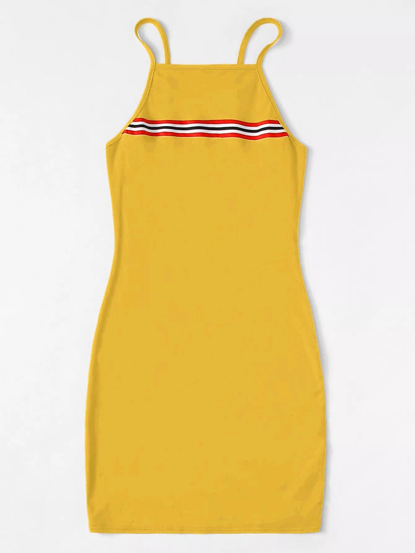 Размера плюс контрастное платье на бретелях с полосками