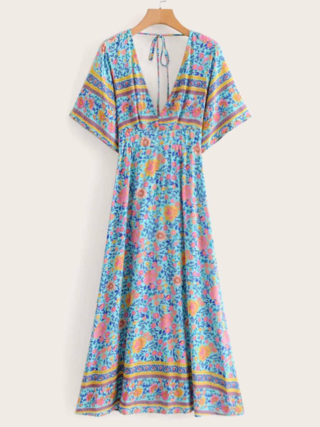 Купить Цветочное платье с бантом сзади, null, SheIn
