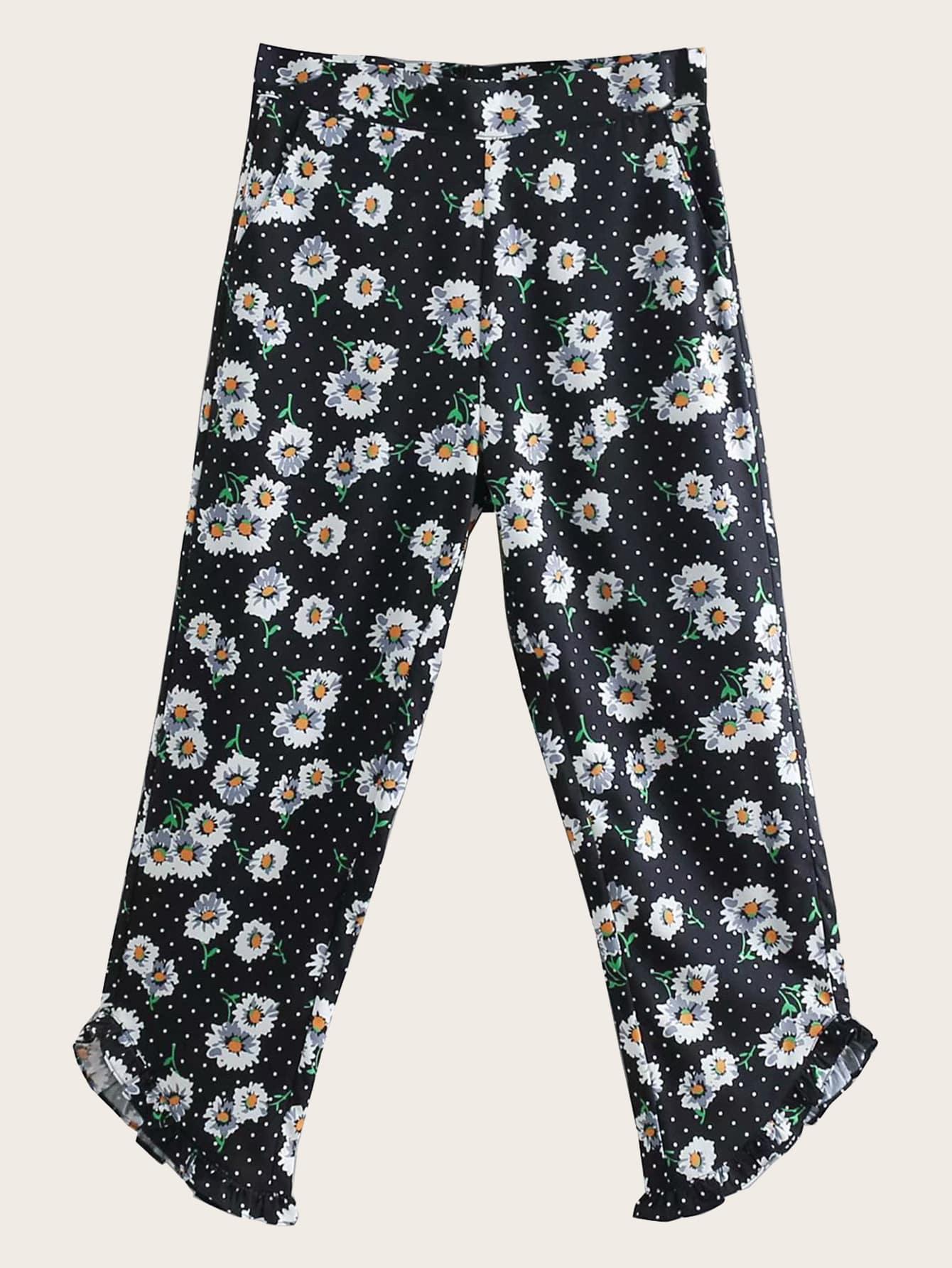 Цветочные брюки с оборкой SheIn