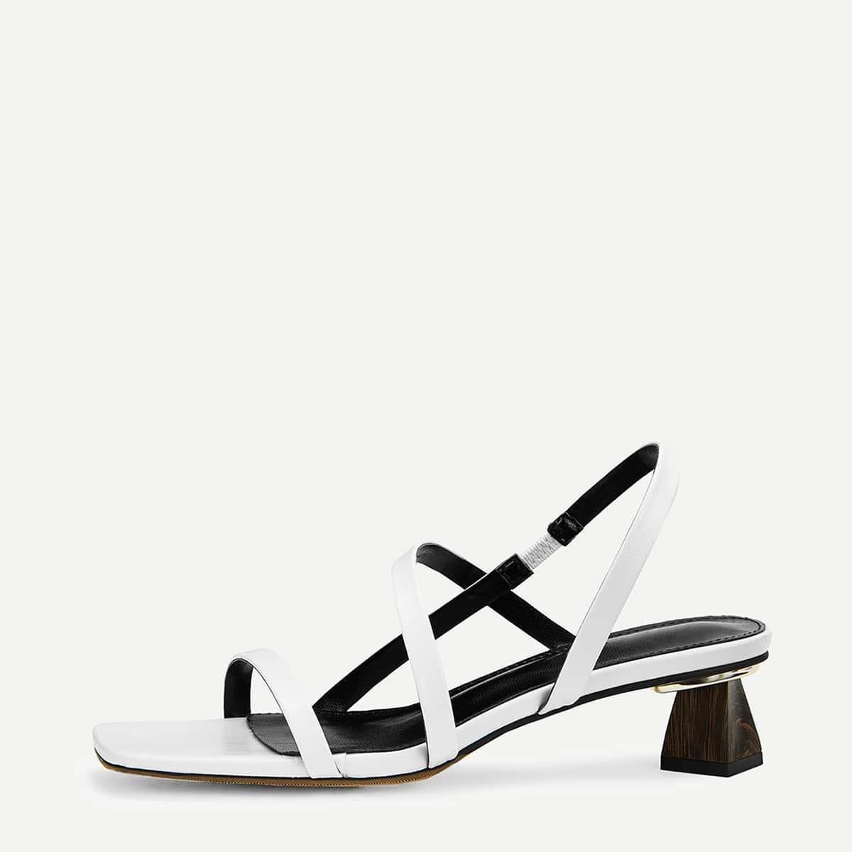 Туфли на толстом каблуке с крестообразным ремешком от SHEIN