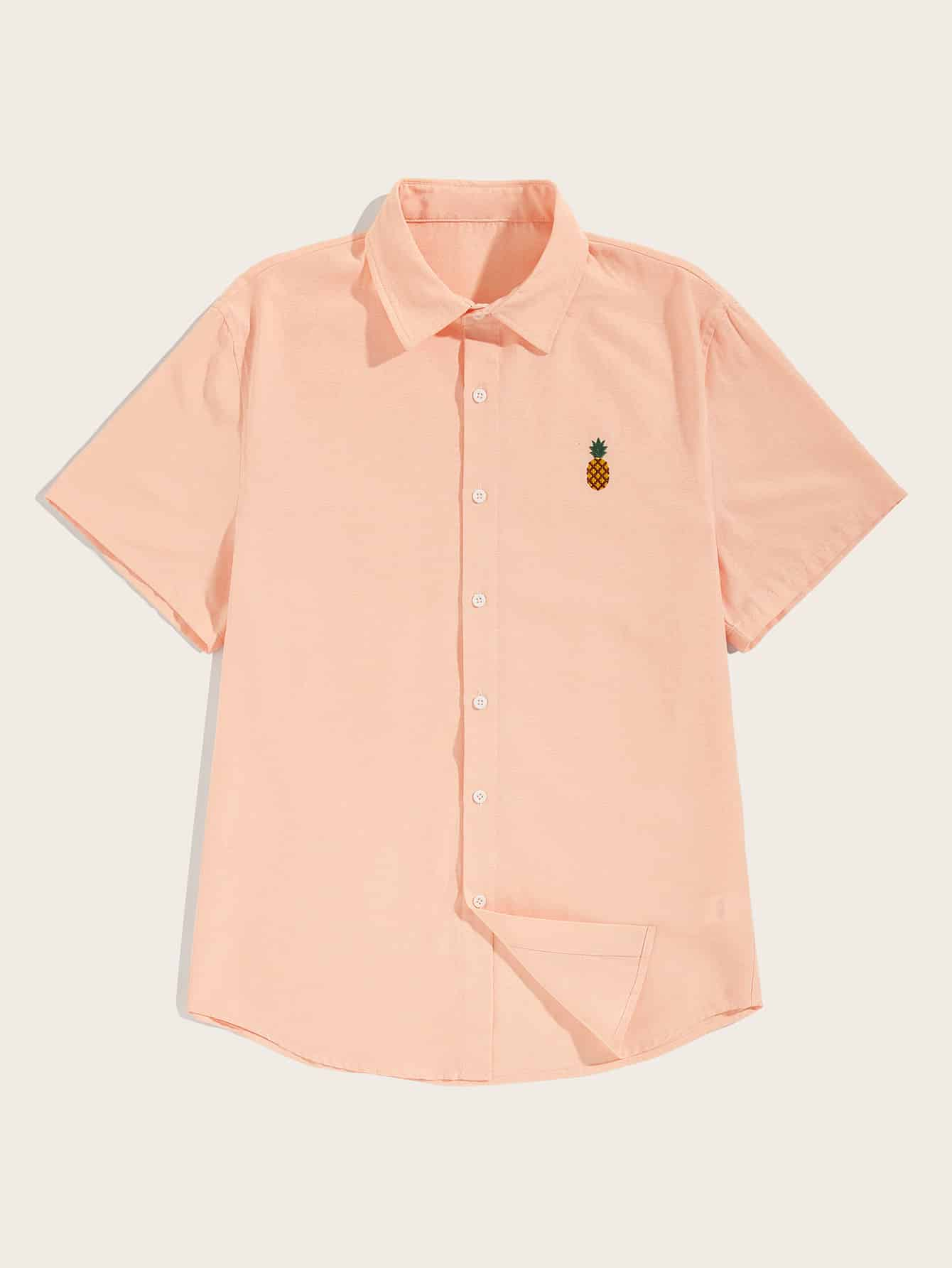 Купить Мужская рубашка с коротким рукавом и принтом вышитых ананасов, null, SheIn