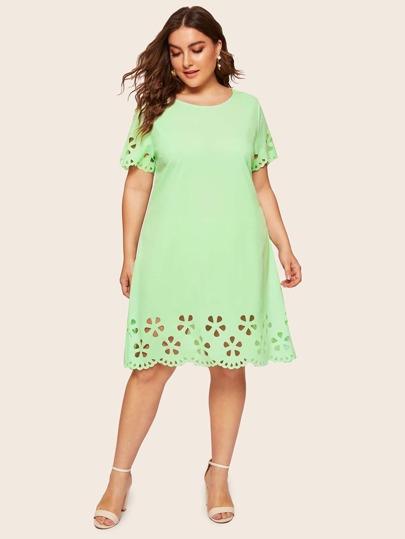 Plus Neon Lime Laser Cut Scallop Edge Tunic Dress