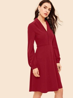 Shawl Collar Button Front Lantern Sleeve Dress