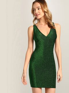 Crisscross Back Glitter Bodycon Dress