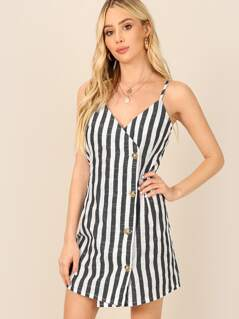 Single Breasted Wrap Striped Cami Dress