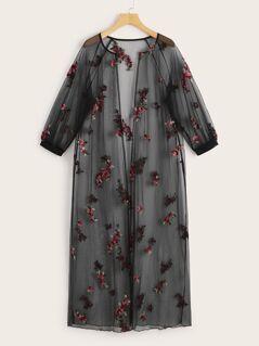 Floral Embroidered Raglan Sleeve Sheer Mesh Kimono