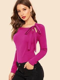 Knot Cutout Solid Tee