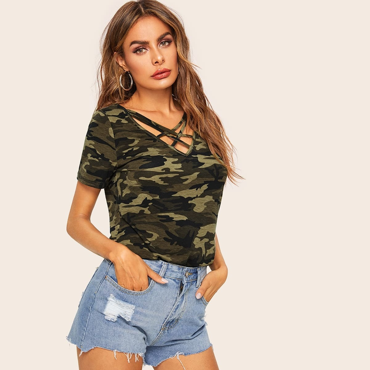 Veel kleurig Casual Camouflage T-shirts criss cross