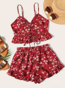 Ditsy Floral Lace-up Cami Top and Shorts Set