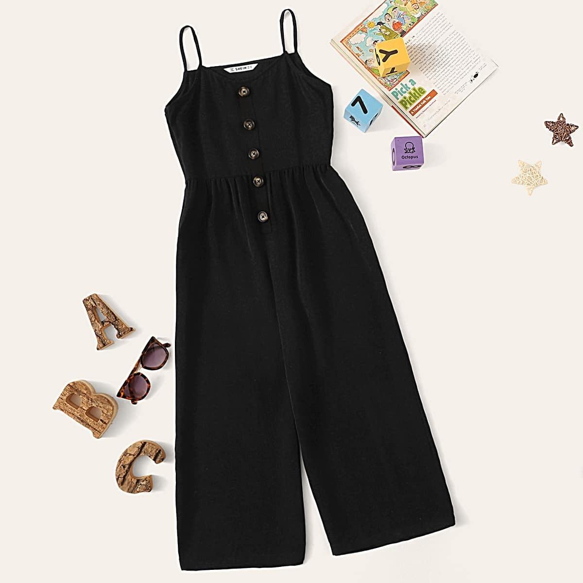 Комбинезон с широких брюких и пуговицами для девочек от SHEIN