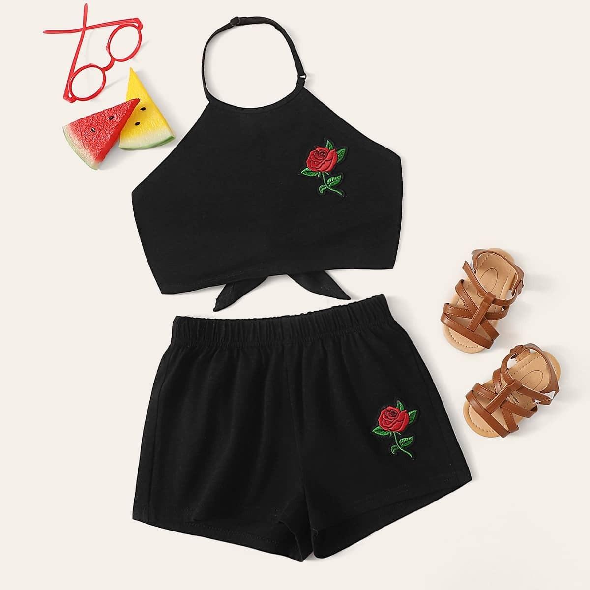 Топ с узелом и аппликацией и шорты комплект для девочек от SHEIN