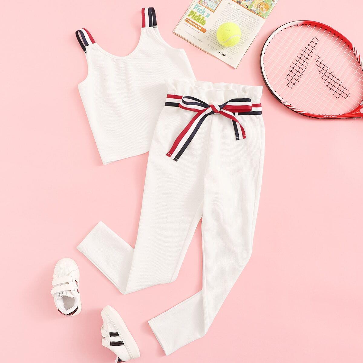 Вязаный ребристый топ на бретелях и брюки с поясом комплект для девочек от SHEIN
