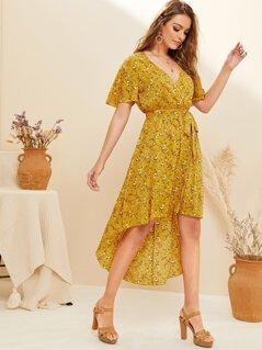 Ditsy Floral Belted Swing Asymmetrical Hem Dress