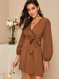 Lantern Sleeve Surplice Neck Wrap Belted Dress