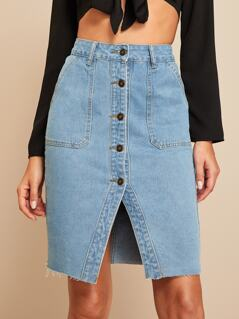 Button Front Slit Hem Pocket Patch Denim Skirt