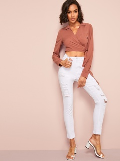 Collared V-Neck Knot Side Wrap Crop Top