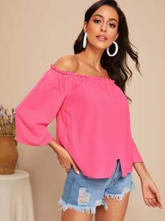 Neon Pink Off Shoulder Frilled Trim Slit Hem Top