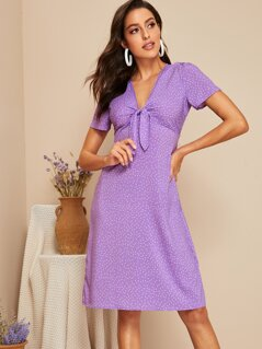 Plunging Neck Knot Front Dot Dress