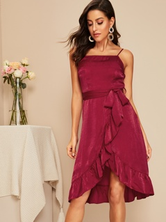 Asymmetrical Ruffle Hem Wrap Belted Satin Slip Dress