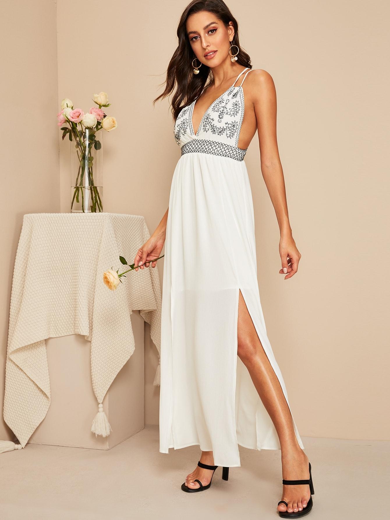 Купить Платье с вырезом и глубоким v-образным вырезом, Mary P., SheIn