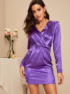 Twist Front Satin Dress