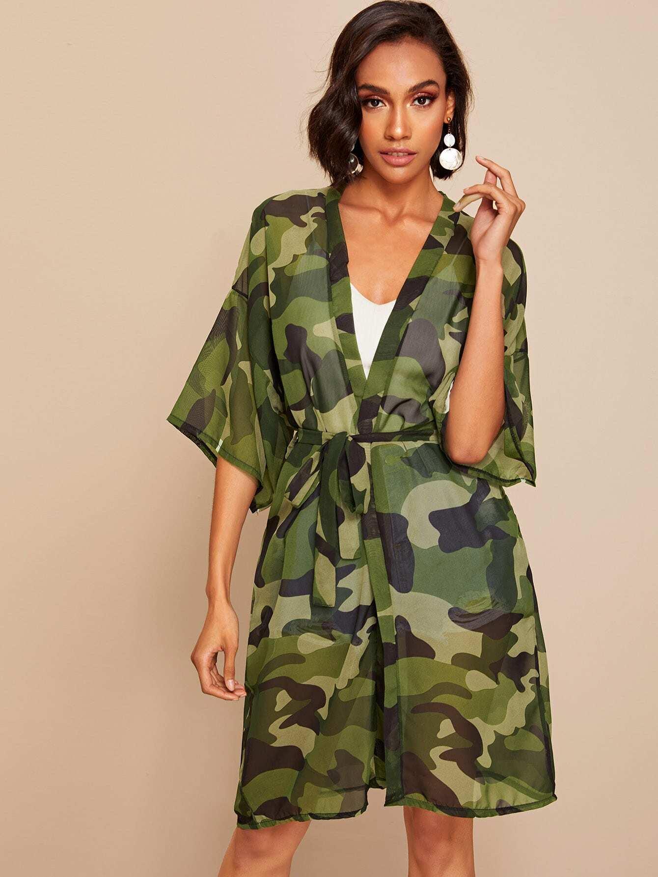 Купить Прозрачное камуфляжное кимоно с заниженной линией плеч и поясом, Liana, SheIn