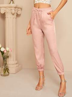 Solid Drawstring Waist Crop Satin Pants