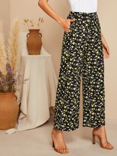 Flower Print Pocket Side Palazzo Pants