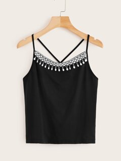 Guipure Lace Trim Crisscross Back Cami Top