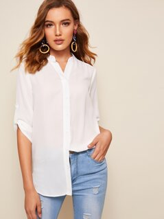Stand Collar Roll Tab Sleeve Dip Hem Blouses