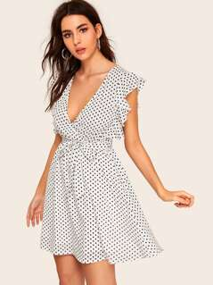 Plunge Neck Ruffle Trim Polka Dot Wrap Dress
