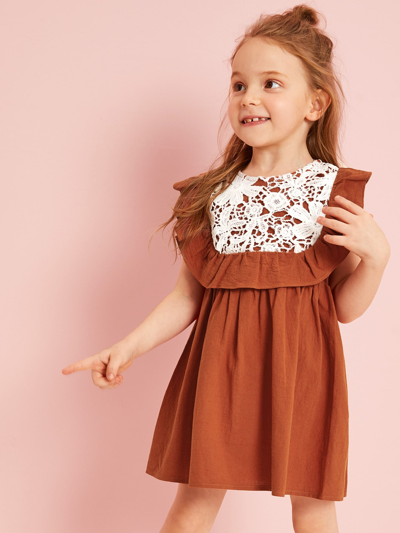 69dedf54f1 Toddler Girls Guipure Lace Yoke Ruffle Dress, Anastassiya - shein ...