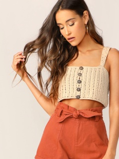 Button Detail Crochet Knit Crop Tank Top