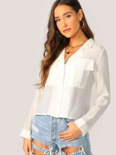Button Front Double Pockets Boxy Long Sleeve Shirt