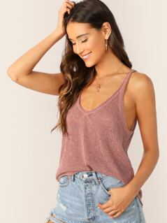 Deep Scoop Neck Loose Knit Tank Top