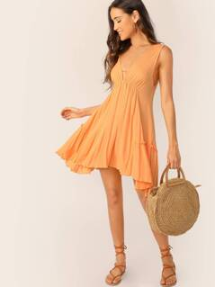 V-Neck Lettuce Ruffle Hem A-Line Dress
