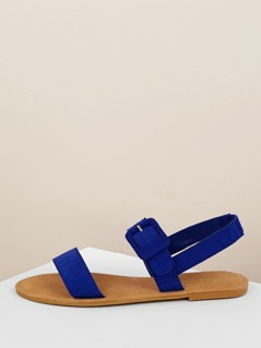 Solid Band Open Toe Buckle Slingback Flat Sandals
