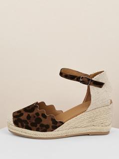 Scallop Edge Leopard Ankle Strap Jute Wedges