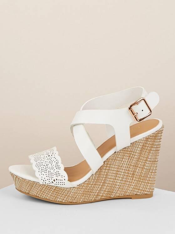 Platform Band Woven Straw Wedge Sandals Scallop mNn0w8