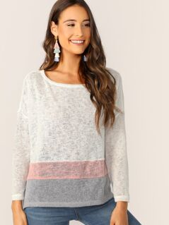 Scoop Neck Split Hem Colorblock Pullover Sweater